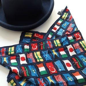 vtg Korean made silk multi-national flags scarf